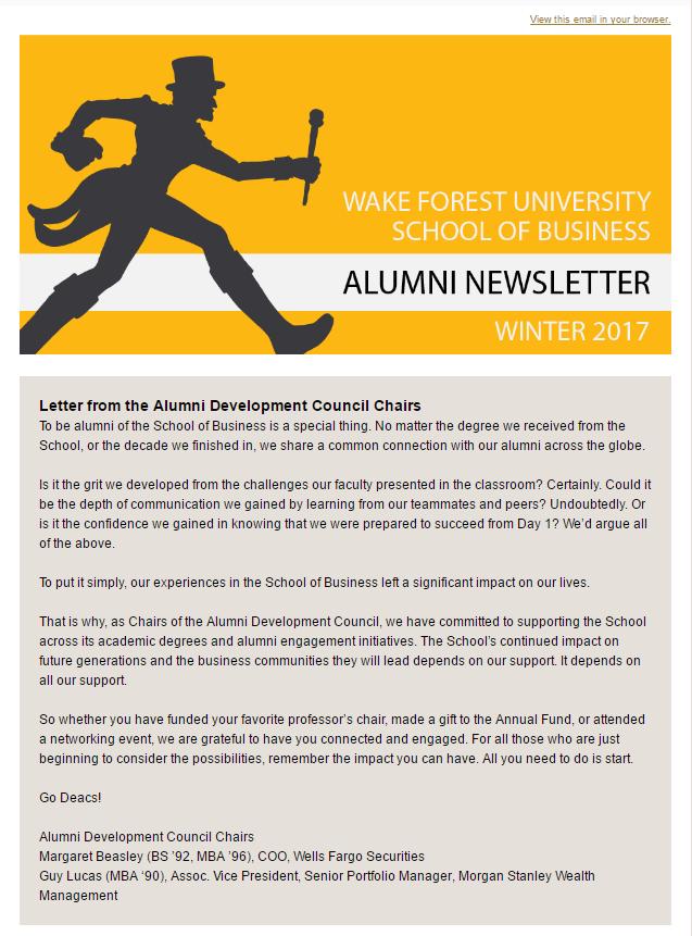 newsletters school of business alumni